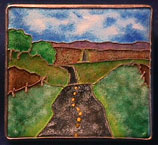Into Nebraska, enameled highway brooch